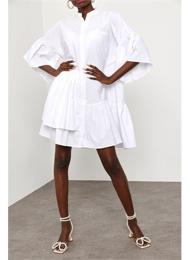 XHAN Asimetrik Bloklu Gömlek Elbise 1Kxk6-44856-01 Beyaz
